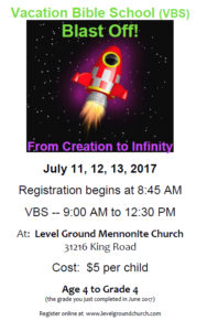 VACATION BIBLE SCHOOL (VBS) Blast Off @ Level Ground Mennonite Church | Abbotsford | British Columbia | Canada